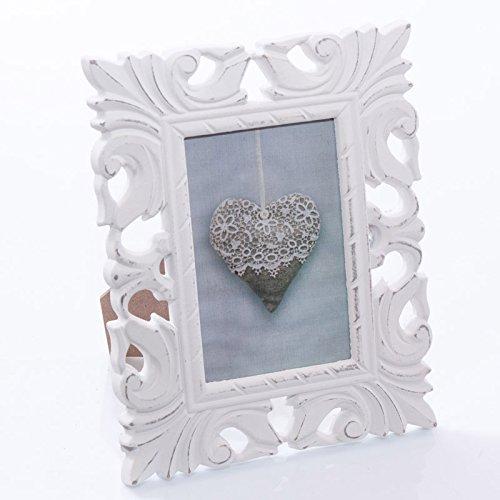 DiKasa Home Cornice Portafoto Intagliato, Legno, Bianco, 24x3x19 cm