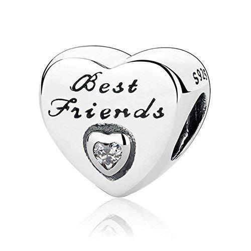 Romántico Amor Donna Best Friend Friendship Heart Love Charm, Argento