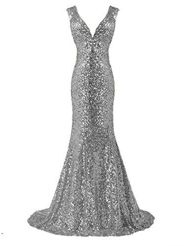 LanierWedding Gold Sequins Mermaid V Neck Bridesmaid Dresses Plus Size Prom Dresses Silver Size 12