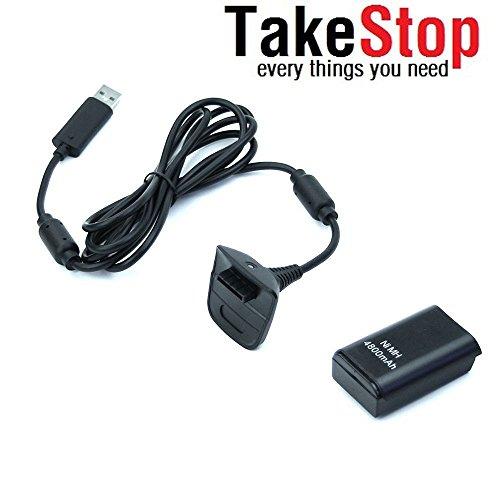 takestop Batteria e Cavo di Ricarica YF per Controller Joystick Joypad Xbox 360 Nero Kit 4800mha