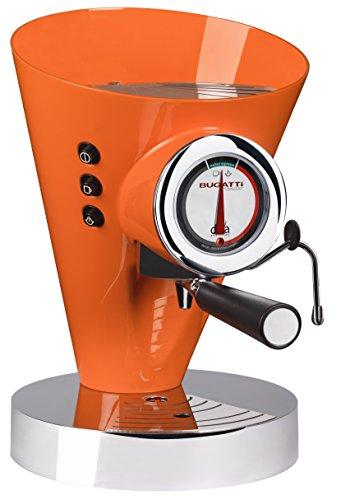 BUGATTI, Diva Evolution, Espresso Kaffee- und Cappuccino-Maschine, gemahlenen Kaffee und Pads, Non-Stop-Dampffunktion, 15 bar, 950 W, Fassungsvermögen 0,8 Liter, Elegantes Design, Orange Farbe