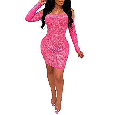 Women's Sexy Bodycon Party Club Night Out Dress (Large, Red 9)
