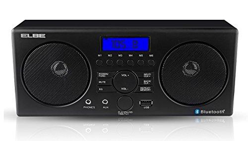 Elbe Radio Despertador con Bluetooth, color negro