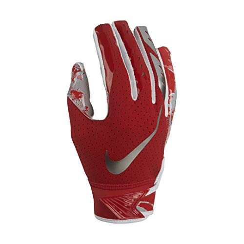Boy's Nike Vapor Jet 5.0 Football Glove University Red/Chrome Size Medium