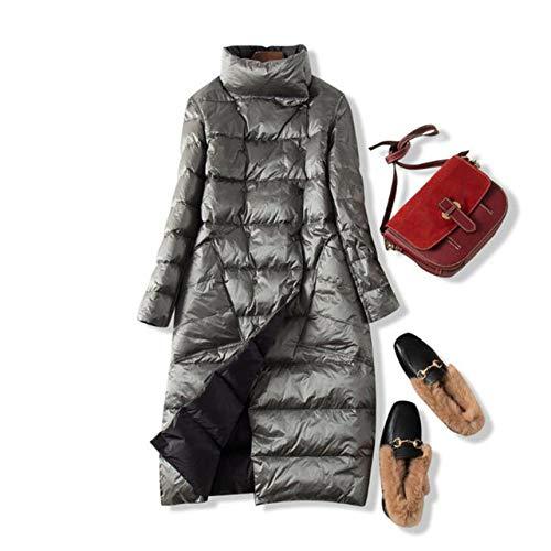 NDBBWG Kurtka puchowa zimowa plus size 5XL długie kurtki puchowe damskie ultralekki płaszcz dwustronny cienka wiosenna kurtka kieszonkowa Czarny srebrny 3XL