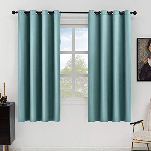 Hughapy Blackout Curtains for Bedroom Faux Silk Curtains Room Darkening Thermal Insulated Soundproof Privacy Window Curtain Panels for Kids Room, 2 Panels (52W x 63L, Blue)