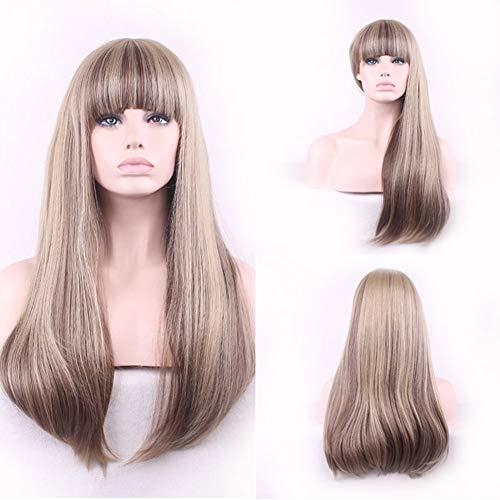 Derkoly-lady Mode Neat Bangs longue ligne droite pleine Perruque Cosplay Party Club Décoration de cheveux – Brun