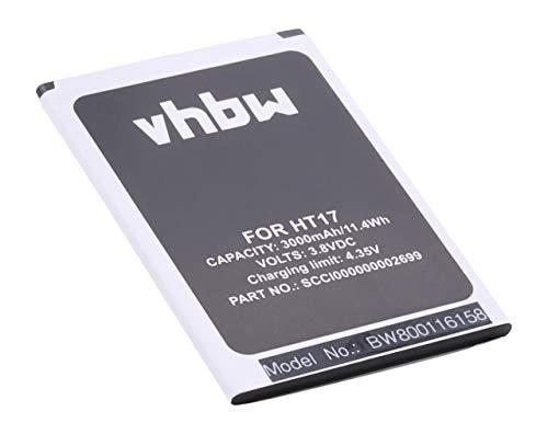 vhbw Li-Ion Akku 3000mAh (3.8V) passend für Handy Smartphone Telefon HomTom HT17, HT17 Pro