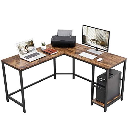 Henry - Escritorio esquinero con forma de L, mesa de estudio, con estante de almacenamiento, para oficina en casa, fácil montaje, estilo industrial, marrón rústico y negro
