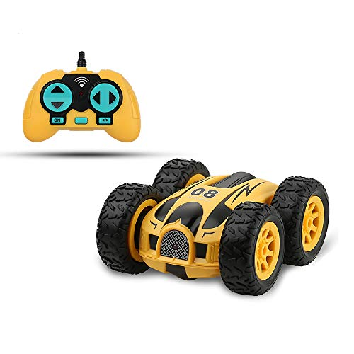 YUESUO Remote Control Car Double-Sided Fast Mini RC Stunt Car, 2.4GHz RC High-Speed Racing Car, Children's RC Car Toy for Boys and Girls (Yellow)