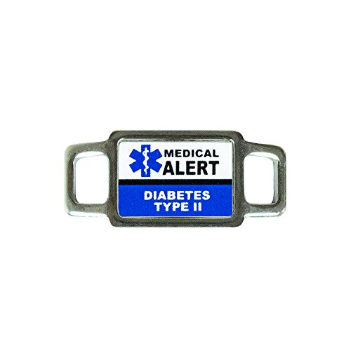 Paracord Planet Medical Alert ID Charms for Paracord Bracelets and Shoelaces (Blue Type II Diabetes)