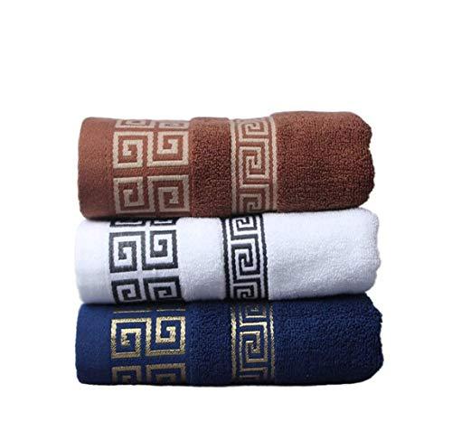 Haojiarui Juego de toallas de algodón puro, suave, absorción rápida, buena permeabilidad al aire, secado rápido, una buena elección para hotel/spa/familia (marrón, blanco, azul, 3 toallas).