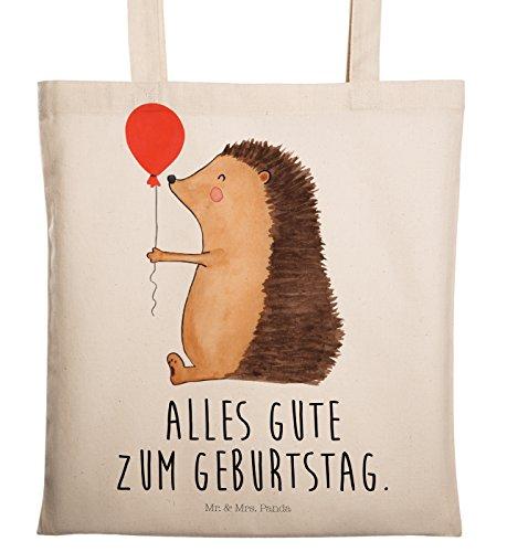 Mr. & Mrs. Panda Einkaufstasche, Tasche, Tragetasche Igel mit Luftballon mit Spruch - Farbe Transparent