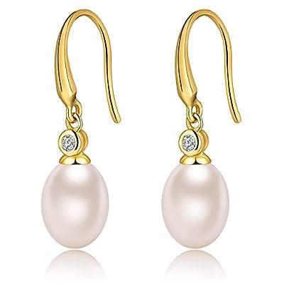 Pearl Earrings 925 Sterling Silver Mother's Pearl White Pearl Dangel Earrings Gift Idea for Women from jiamiaoi