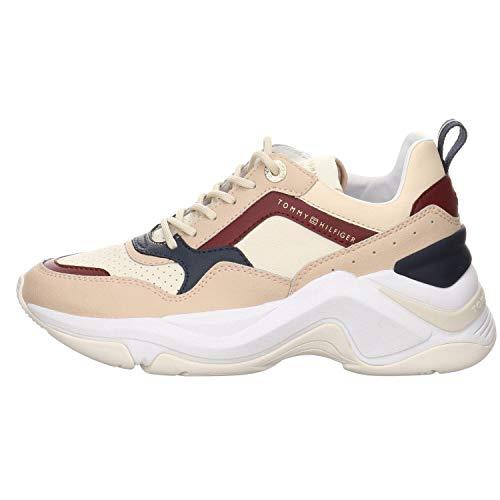 Tommy Hilfiger - Zapatillas deportivas para mujer con suela gruesa y plataforma interior de color marfil Marfil Size: 41 EU