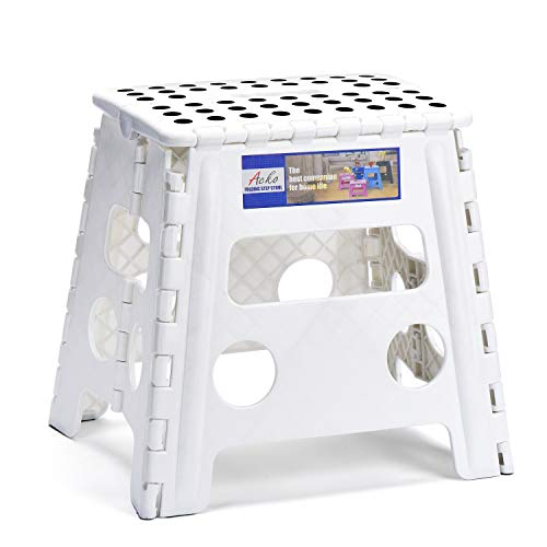 HOUSE DAY Taburete Plegable de Ligero 33cm Blanco plástico Antideslizantes para niños la Cocina Taburete de baño