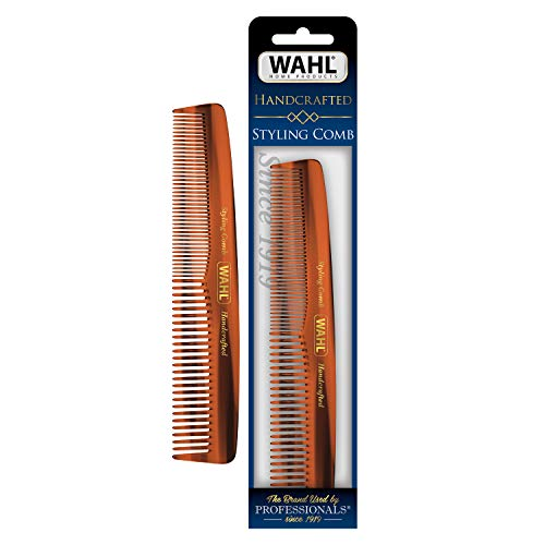 Wahl Beard, Moustache & Hair Styling Comb for Men's Grooming - Handcrafted & Hand Cut with Cellulose Acetate - Smooth, Rounded Tapered Teeth - Model 3328