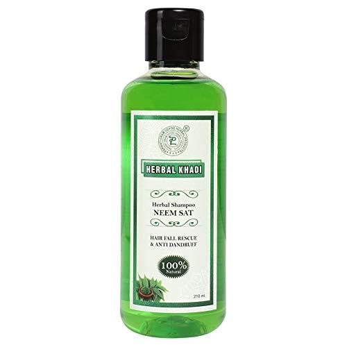 Herbal Khadi Neemsat Natural Shampoo Anti Dandruff, Anti Fungal, Hair fall Control & Hair Growth Booster 210 ml (Pack of 2) Men & Women