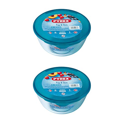 Pyrex Microwave Safe Classic Round Glass Dish Plastic Lid 2.0 Litre Blue (Pack of 2)