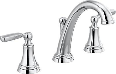 Delta Faucet Woodhurst Widespread Bathroom Faucet Chrome, Bathroom Faucet 3 Hole, Bathroom Sink Faucet, Metal Drain Assembly, Chrome 3532LF
