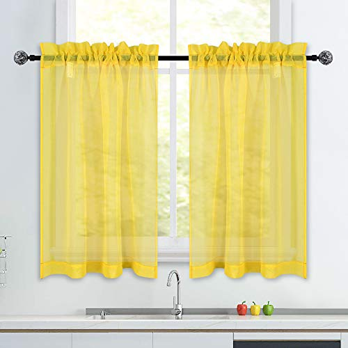 Yellow Short Sheer Kitchen Curtains 36 inch Length Tier Curtains Rod Pocket Sheers Cafe Curtains Linen Like Privacy Semi Sheer Drapes Half Window Curtain for Basement Bathroom Small Windows 34X36 Inch
