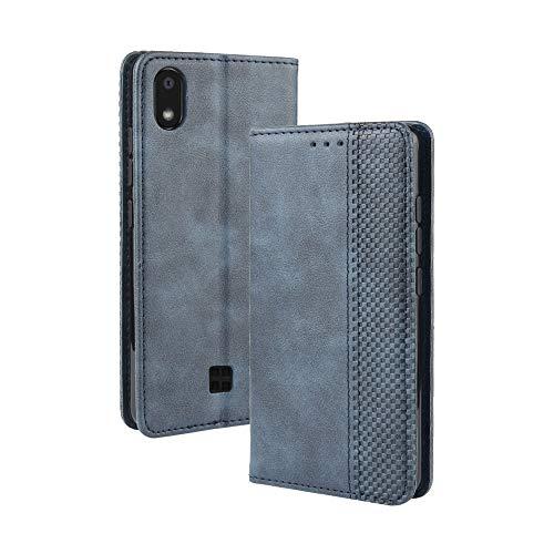 Dedux Flip Hülle kompatibel mit LG k20 2019, Retro Leder Brieftasche Abdeckung Magnetverschluss Folio Ständer Kartensteckplätze Handyhülle, Blau