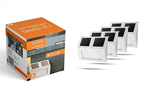 LED LOVERS Texas | Luci solari per Pareti Esterne | Set di 4 | Senza fili | Impermeabile | Per Giardino, Scale, Muro, Terrazzo, Esterno