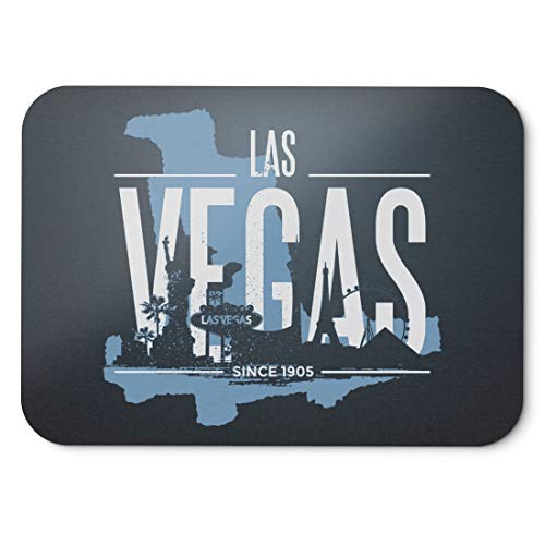 BLAK TEE Las Vegas USA Skyline Mouse Pad 18 x 22 cm in 3 Colours Nero
