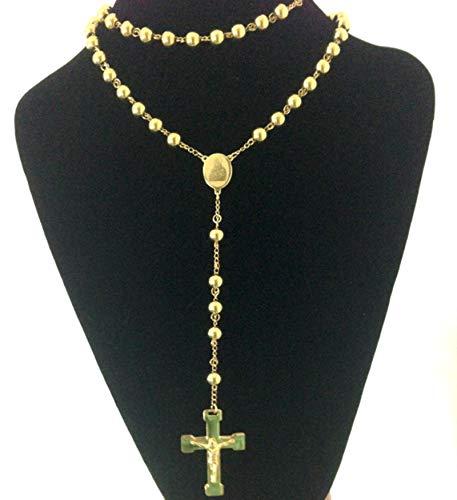 Joyería de Moda Collar de Rosario de Acero Inoxidable, Collares con Colgante de la Cruz de Jesús de la Virgen, Joyería de Hombre de Hip Hop de Color Dorado Pesado