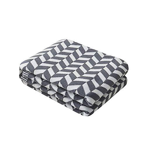 Manta de Hilo de algodón geométrico para sofá Manta Ligera para sofá para Uso Diario (Color: B Tamaño: 130x170cm)