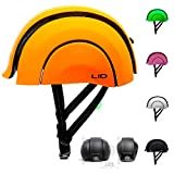 L.I.D. Plico Foldable Recycled Urban Bike Helmet with USB Rechargeable Rear Clip-on Light (Oakland Orange)