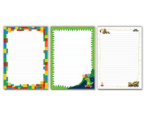3 blocs de notas con diseño infantil de Lego, dinosaurios para niños (3 blocs de 25 hojas en formato A4)