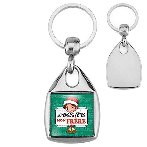 Porte Clés Carré Acier Joyeuses Fêtes Mon FRERE Noël Gui Cloches - Idée Cadeau