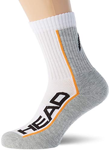 HEAD Unisex Performance Short Crew Socks Mannschaftssocken, Weiß/Grau, 43/46 (3er Pack)