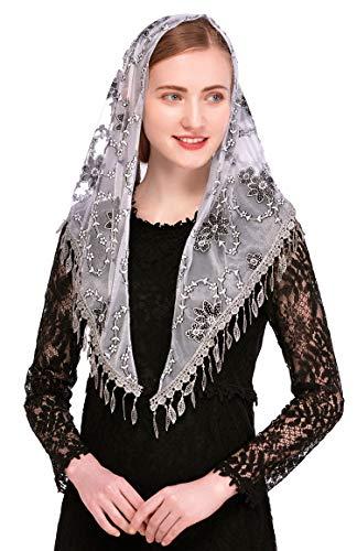 Pamor Dreieckiger Kapellenschleier, Mantilla, Kopfbedeckung, Spitzenschal, Lateinamerikanischer Schal für Mass - grau - Einheitsgröße