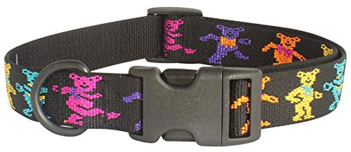 My Sunnies Dancing Bears Adjustable Dog Collar 1-inch Wide, Size S, M, & L Lengths (Small 10' - 16')