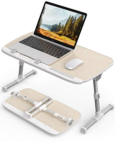 AboveTEK Laptop Desk for Bed, Portable Laptop Table Tray with Foldable Legs, Height Adjustable Foldable Laptop Desk for Eating Reading Writing, Computer Tray for Bed on Couch Sofa Floor Birch