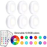 Pursnic Under Cabinet Lights, RGB Wireless LED Puck Lights, Dimmable Night Lights
