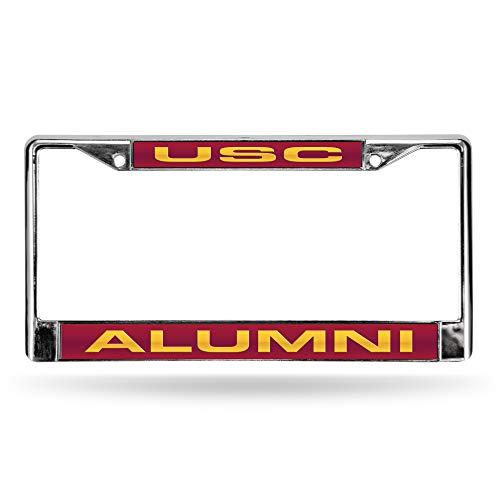 NCAA Rico Industries  Laser Cut Inlaid Standard Chrome License Plate Frame, USC Trojans - Alumni