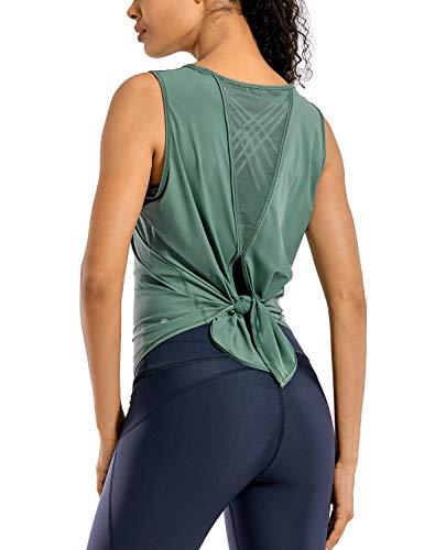 CRZ YOGA Camiseta Deportiva de Tirantes Prendas Deportivas para Mujer de Fitness Espalda Abierta Enebro 42