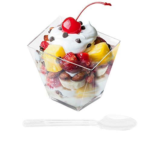 Fasmov 50 Pack 3.5 Oz Plastic Ice Cream Dessert Bowls Clear Dessert Cups Ice Cream Bowls Bevel Square Clear Plastic Dessert Tumbler Cups with 50 Plastic Spoons