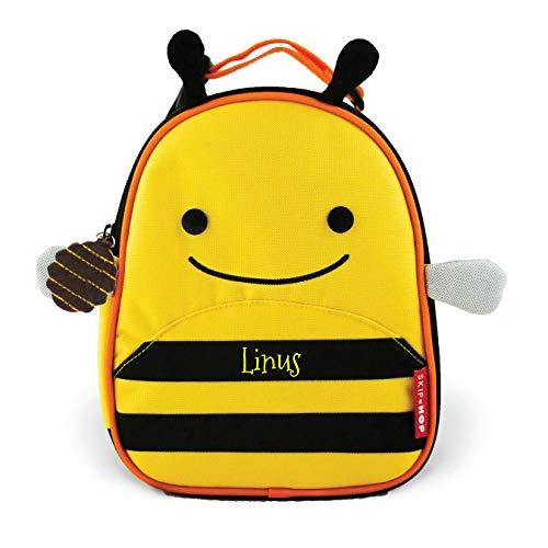 Skip Hop Lunchie isolierte Kindergartentasche mit Namen | Motiv Biene in gelb & schwarz für Mädchen & für Jungen | Brotzeitbox Frühstückstasche mit Tieren | inkl. Namensdruck