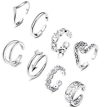 Thunaraz 6-8Pcs Open Toe Ring for Women Toe Ring Set Adjustable Cute Band Ring Set Foot Jewelry  C 8Pcs