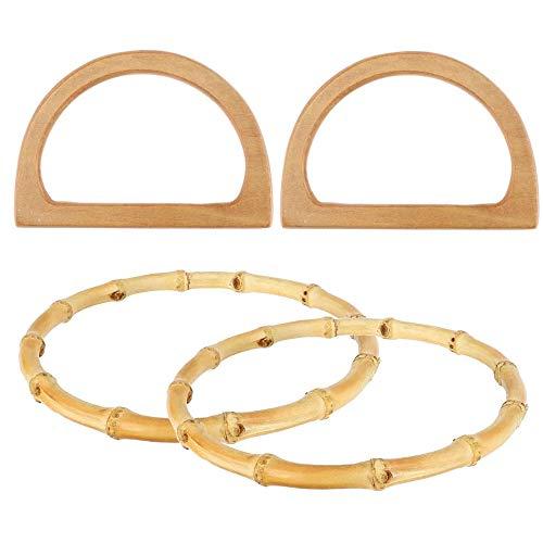 Zasiene Taschengriffe 4 Stück Holz und Bambusring Taschengriffe Handtasche Griffe Ersatz Henkel für Taschen Taschengriff Holz Bag Handle für DIY Taschenherstellung Zubehör