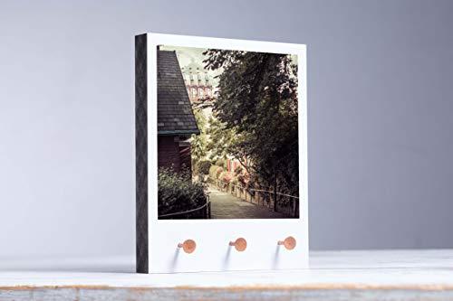 """Schlüsselbrett Fotokunst auf Holz Motiv\""""Elbtreppe Wasser Hafenblick Hamburg\"""" handmade von Eva Photography Schmuckaufbewahrung Polaroid-Optik PHH_038"""