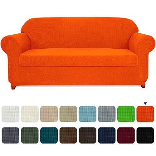 Subrtex 2-Piece Spandex Stretch Slipcover (Sofa, Orange)