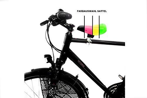Kindersitz für Herren Fahrrad vorn - mit dem Kind auf dem Fahrrad wie zu DDR Zeiten - klappbare Fußstützen, Kids Sattel:Schwarz-Ventura, Sattelstützen Kindersitz:Herren 1 Ø 20-29 mm