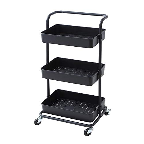 Jklt Convenient Kitchen Trolley Metal Rolling Storage Trolley 3-layer Metal Service Trolley with Handle, Luggage with Lock Wheels Practical Design (Color : Black, Size : 41x26.5x77cm)