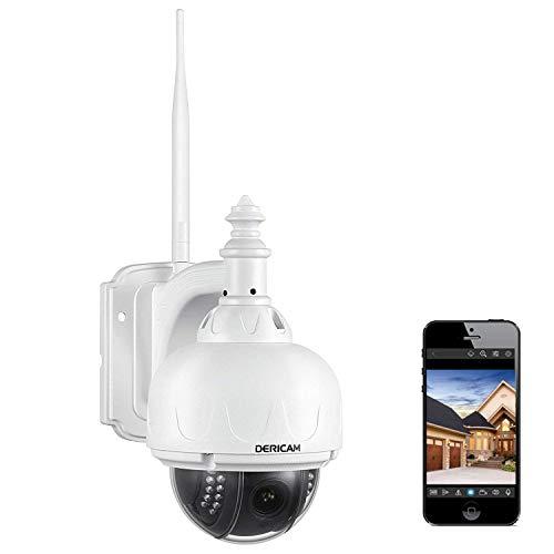 Telecamera di sicurezza wireless esterna Dericam, telecamera PTZ, zoom ottico 4x, messa a fuoco automatica, 1080P 2 megapixel, scheda di memoria 32 GB preinstallata, S2X, Bianco