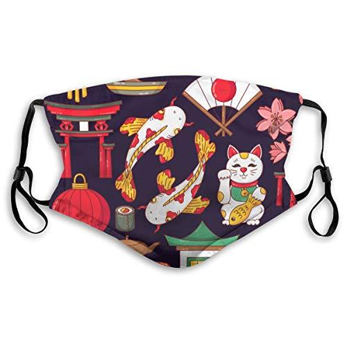 Waschbarer Mundschutz Anti-Staub-Gesichtsschutz,Japanische traditionelle Symbole kritzeln bunte Karikatur,Wiederverwendbar winddicht für Outdoor-Ski Radfahren Camping Laufen